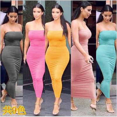 www.Petalsfashionz.com Quick shipping low prices women's Maxi Dresses & Sundresses Dress Long Tube Top Dress Sexy Women Strapless Slim Stretch Bodycon 9 Colors Women's Clothing