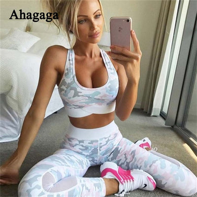 www.Petalsfashionz.com Quick shipping low prices women's rompers & jumpsuits Fitness Tracksuits Women Suits Sets Fashion Camouflage Print Sexy Women Costume 2-pieces Suit Set