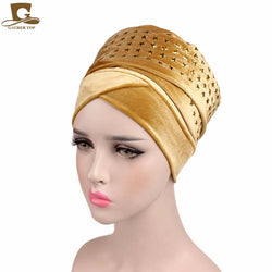 www.Petalsfashionz.com Quick shipping low prices women's Scarves And Hats STAR diamante Velvet Turban Long Head Wraps women luxury Hijab HeadScarf head scarf turbante