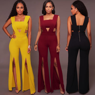 www.Petalsfashionz.com Quick shipping low prices women's rompers & jumpsuits Sexy Jumpsuit Women Sleeveless Deep V Long Jumpsuit Tube Top Cutout Split Wide Legs Back Zipper Party Clubwear Romper Playsuit