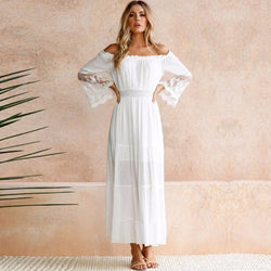 www.Petalsfashionz.com Quick shipping low prices women's Maxi Dresses & Sundresses Long White Strapless Long Sleeve Loose Sexy Off Shoulder Lace Boho Cotton Maxi Dress
