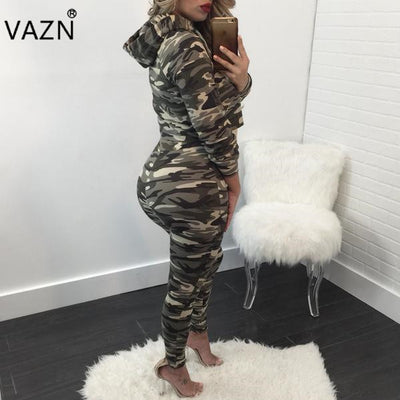 www.Petalsfashionz.com Quick shipping low prices women's rompers & jumpsuits Sexy 2-piece Bodycon Costume Hooded Women Jumpsuits camouflage clothing Casual Club Rompers