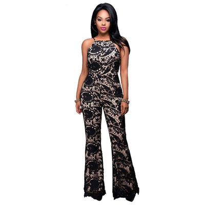 www.Petalsfashionz.com Quick shipping low prices women's rompers & jumpsuits New jumpsuit High waist Lace Hollow Out romper sexy Summer women playsuit Sleeveless