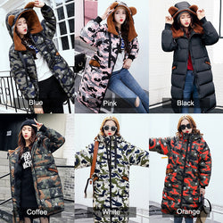www.Petalsfashionz.com Quick shipping low prices women's Jacket's And Coat's Cute Ear Hooded Camouflage Long Down Jacket Coat Thick Warm Parkas Plus Size 3XL Knee Length Wadded Coat Female