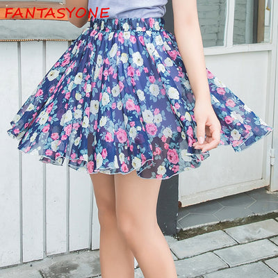 www.Petalsfashionz.com Quick shipping low prices women's Clearance sale apparel New Summer Chiffon Skirts Womens Print High Waist Mini Skirts Sexy Pleated Saia Feminine Ladies Bohemian Skirt