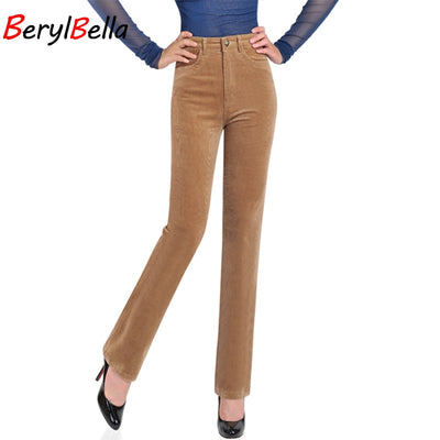 www.Petalsfashionz.com Quick shipping low prices women's Sexy Jean's & Classic Pants BERYLBELLA High Waist Straight Warm Fitness Solid Work Corduroy Pants Plus Size
