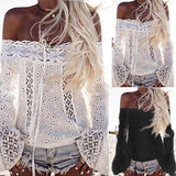 www.Petalsfashionz.com Quick shipping low prices women's Blouses & Unique Classy Stylus Apparel Sexy Lace Off Shoulder Shirts Casual Solid Lace Top Tees Long Sleeve Blouse Tops HOT