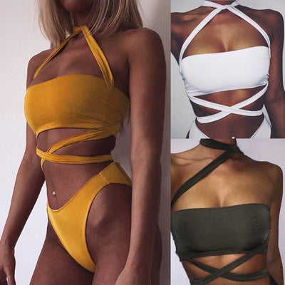 www.Petalsfashionz.com Quick shipping low prices women's swimsuit & poolside attire arrival solid lace up wrapped cross back high waist swimsuit bandage bikini bathing suit sexy women swimwear