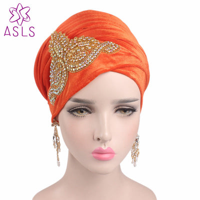 www.Petalsfashionz.com Quick shipping low prices women's Scarves And Hats  gorgeous Embellished Crystal Jewelry Nigerian velvet turban Extra Long Head Scarf Head Wraps hijab for women