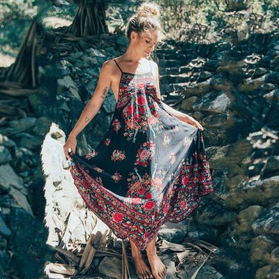 www.Petalsfashionz.com Quick shipping low prices women's Maxi Dresses & Sundresses Bellflower Summer Boho Dress Ethnic Sexy Retro Print Vintage Dress Sleeveless Beach Dress Bohemia Hippie Dress Robe