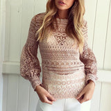www.Petalsfashionz.com Quick shipping low prices women's Blouses & Unique Classy Stylus Apparel White Long Sleeve Lace Blouse Shirts Women Fashion Lantern Sleeve Elegant Hollow Out Women Top Black Tops Blusas Femininas