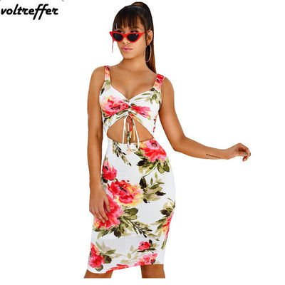 www.Petalsfashionz.com Quick shipping low prices women's Maxi Dresses & Sundresses Summer Hollow Out Floral Print Bodycon Dresses For Women Knee Length Backless Bandage Dress Midi Ribbons Sexy Club Wear