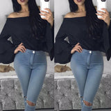 www.Petalsfashionz.com Quick shipping low prices women's Blouses & Unique Classy Stylus Apparel  Blouse Women Top Fashion Blusa Full Flare Sleeve Off The Shoulder Ruffled Women's Blouses Solid Tops Blusas
