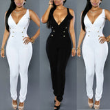 www.Petalsfashionz.com Quick shipping low prices women's plus size Rompers & Jumpsuits apparel  Casual Sexy Women Black White Sleeveless Bodycon Button Romper Jumpsuit Club Pants Clothing