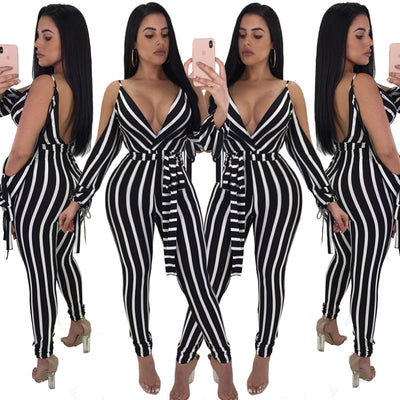 www.Petalsfashionz.com Quick shipping low prices women's rompers & jumpsuits New Horn Long Sleeve Deep V neck Striped Tight Party Elegant Jumpsuits Spring Summer Women Push Up Bandage Sexy Trousers
