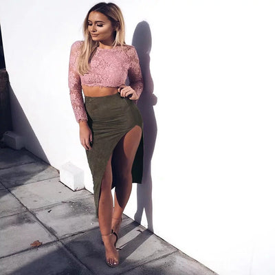 www.Petalsfashionz.com Quick shipping low prices women's Clearance sale apparel Sexy Asymmetrical Suede Skirt Women High waist Party Bodycon Pencil Skirt Retro Vintage Split Skirt