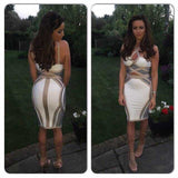 www.Petalsfashionz.com Quick shipping low prices women's Club Dresses Women bodycon dress sexy nude white and grey halter neck cut out backless knitted Bandage Dress party