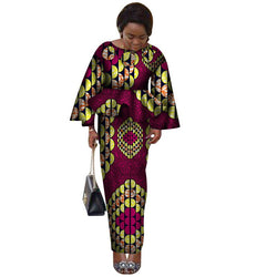 www.Petalsfashionz.com Quick shipping low prices women's Traditional Attire Bazin Riche African Ruffles Sleeve Tops and Skirt Sets 2 Pieces Skirt Sets