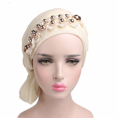 www.Petalsfashionz.com Quick shipping low prices women's Scarves And Hats Voile Muslim Bandanas Multi-function Headscarf Head Wrap Cap with shell pendant Necklace Scarf Neckerchief