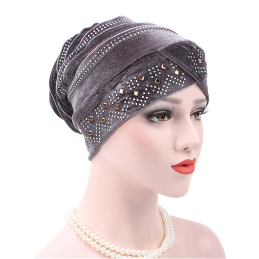 www.Petalsfashionz.com Quick shipping low prices women's Scarves And Hats  Turban Caps Luxury Woman Velvet Turban Twist Pleated Hair Wrap Beanie Hat with Gold Jewelry Brooch Hijab Turbante Hats