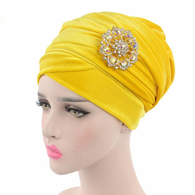 www.Petalsfashionz.com Quick shipping low prices women's Scarves And HatsLuxury Velvet Indian Turban Hijab Extra Long Bandanas Hair Loss Head Wrap Scarf with Brooch