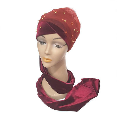 www.Petalsfashionz.com Quick shipping low prices women's Scarves And Hats  Luxury Mass Gold Beaded Mesh Head wrap Velvet Nigeria Long Turban Hijab Head double hands scarf women Turbante