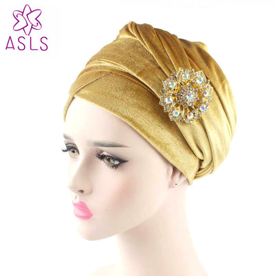 www.Petalsfashionz.com Quick shipping low prices women's Scarves And Hats hijab velvet Turban Head Wrap Extra Long velour tube Indian Head Wrap turban Tie with the jewelry brooch