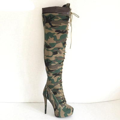 www.Petalsfashionz.com Quick shipping low prices women's shoes Camouflage Over Knee High Boots Winter Shoes Women Platform Shoes Ladies Extreme High Heels Long Boots