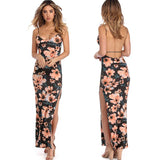 www.Petalsfashionz.com Quick shipping low prices women's Maxi Dresses & Sundresses flowers printed halter back party sexy long dress women's casual beach style back harness printing split