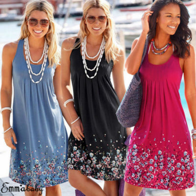 www.Petalsfashionz.com Quick shipping low prices women's Maxi Dresses & Sundresses Boho Short Dress Loose Evening Party Dresses Plus Size Size: S/M/L/XL/2XL/3XL Beach Sundress