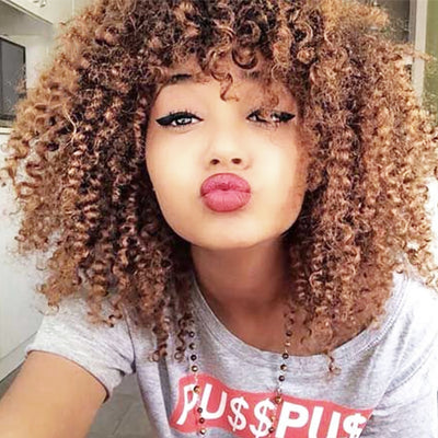 www.Petalsfashionz.com Quick shipping low prices women's Brazilian Remy & Non-Remy WTB Brown Mixed Blonde Kinky Curly Synthetic Short Afro Kinky Curly Wig Glueless Brown Blonde Colour Synthetic Hair With Bangs