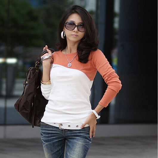 www.Petalsfashionz.com Quick shipping low prices women's Blouses & Unique Classy Stylus Apparel Special promotions, stitching cotton t-shirt long sleeve autumn