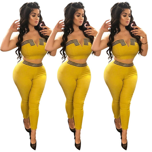 www.Petalsfashionz.com Quick shipping low prices women's rompers & jumpsuits Black Striped Spliced Sexy 2 Piece Set Summer Strapless Crop Top And Elastic Waist Skinny Pants Women Yellow Tracksuits