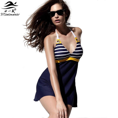 www.Petalsfashionz.com Quick shipping low prices women's swimsuit & poolside Padded Navy Blue Halter Skirt Swimwear Women One Piece Swimsuit Beachwear Bathing Suit