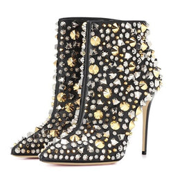 www.Petalsfashionz.com Quick shipping low prices women's Heel & Boots Shoes Apparel spiked rivets studded Pointy Toe ankle Boots 12 cm super high Heel Bling bling sequins decor shiny short boots