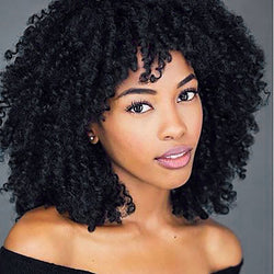 www.Petalsfashionz.com Quick shipping low prices women's Brazilian Remy & Non-RemyWTB Short Black Kinky Curly Wigs for Women Heat Resistant Synthetic Wigs for African Afro Daily Party Full Wigs