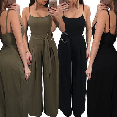 www.Petalsfashionz.com Quick shipping low prices women's rompers & jumpsuits Loose Elegant Jumpsuit Women's Long Solid Wide Palazzo Style Pants Leg Womens Jumpsuits