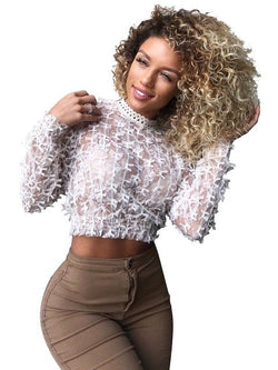 www.Petalsfashionz.com Quick shipping low prices women's Blouses & Unique Classy Stylus Apparel  Casual  Full Sleeve See Through Lace O-neck Sexy T-Shirt Elegant Solid Women Costume
