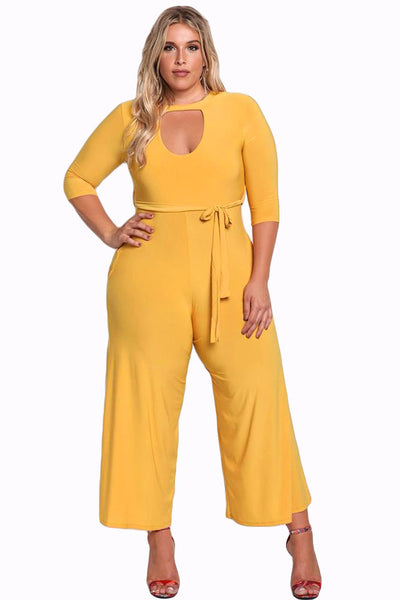 www.Petalsfashionz.com Quick shipping low prices women's rompers & jumpsuits Long Pants Autumn 3/4 Sleeve Rompers Womens Plus Size Cut Out Wide Legged Jumpsuit Big Ladies Office Overalls