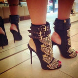 www.Petalsfashionz.com Quick shipping low prices women's shoes Gold Stud Summer Boots High Heels Gladiator Stiletto
