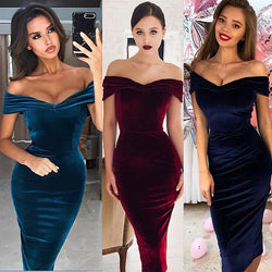 www.Petalsfashionz.com Quick shipping low prices women's Evening dresses and wrap dresses Off the shoulder Short Sleeve Sexy Slash Neck Velvet  Dresses Vestidos Robes