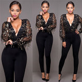 www.Petalsfashionz.com Quick shipping cheap prices women's rompers & jumpsuits Sexy Black Gold Sequins Jumpsuit Summer Bodysuits Women body Long sleeve Leotard Sequined Night Club Wear Embroidery Party Romper