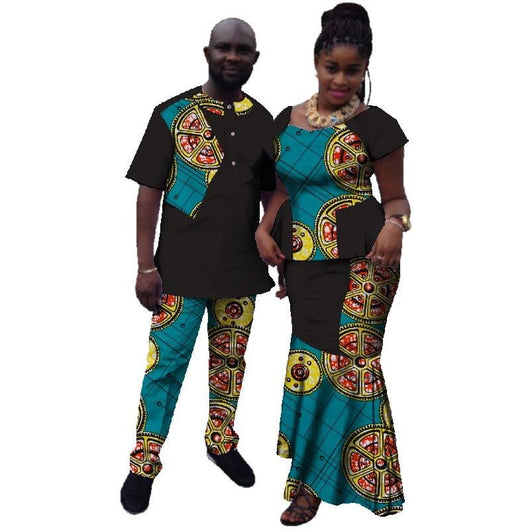 397a70e90dc44 Petalsfashionz Summer Couple African Clothing Traditional African Clothing  For Women Men Bazin Riche Dashiki Women Skirt Set Men's Suits