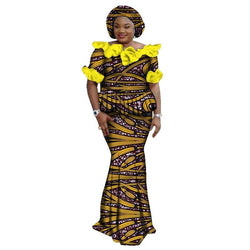 www.Petalsfashionz.com Quick shipping low prices women's Traditional Attire Traditional African Clothing  African Print Skirt Sets Dashiki headdress Skirt and Crop Top Skirt Set