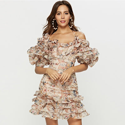 www.Petalsfashionz.com Quick shipping low prices women's Maxi Dresses & Sundresses Runway Dress Women's Spaghetti Strap Cascading Ruffle Floral Casual Dress