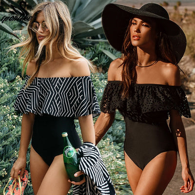 www.Petalsfashionz.com Quick shipping low prices women's swimsuit & poolside attire Sexy Off The Shoulder Solid Swimwear One Piece Bathing SuitWith Ruffle Monokini Swim Wear