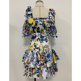www.Petalsfashionz.com Quick shipping low prices women's Club Dresses Spaghetti Strap Camis Top Gorgeous Floral Print Ruffle Skirt Suit Clothing Set