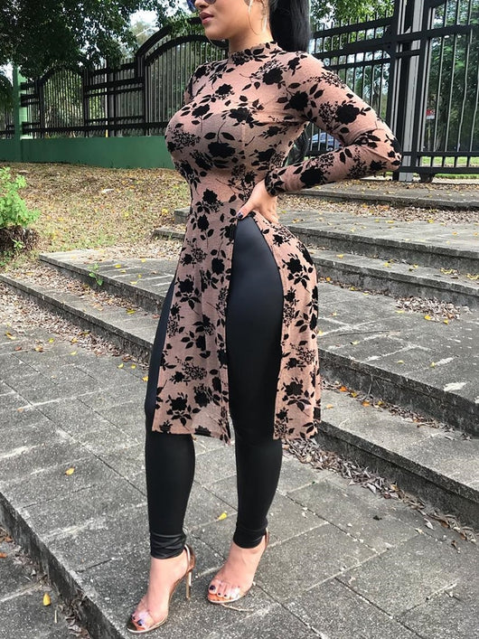 www.Petalsfashionz.com Quick shipping low prices women's Blouses & Unique Tops Summer Elegant Stylish Blouse High Side Split Leisure Longline Long Sleeve Blouse