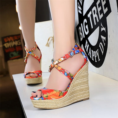 www.Petalsfashionz.com Quick shipping low prices women's Heel & Boots Shoes Apparel Summer High-heeled Wedge Sandals Satin Floral Hemp Rope Shoe Women Pumps Peep Toe Metal Chain Cross Belt High Heel Sandal