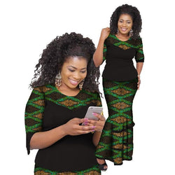 www.Petalsfashionz.com Quick shipping low prices women's Traditional AttirePetalsfashionz Bazin Riche African Skirt Sets Wax Print Two Piece Set Traditional African Top And Skirt